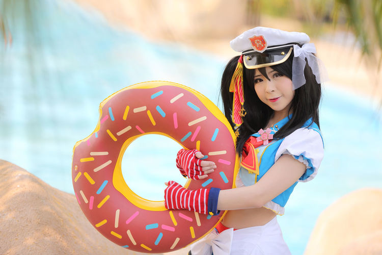 Cosplay Cosplayer Cosplaygirl One Person Real People Lifestyles Leisure Activity Child Focus On Foreground Childhood Standing Day Girls Women Helmet Three Quarter Length Holding Casual Clothing Females Nature Outdoors Innocence Hairstyle