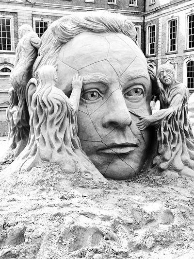 Beach Art Art Artistic Expression Creation Cracked Face Black And White Film Photography Sand Art Sand HEAD Sand Sculpture Art And Craft Representation Sculpture Creativity Human Representation Day Male Likeness No People Travel Destinations Ornate Body Part Outdoors