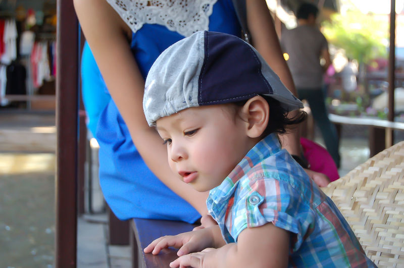 Portrait of a boy, Asian Age 2 years at the floating market. Boys Casual Clothing Child Childhood Cute Daughter Family Family With One Child Females Focus On Foreground Incidental People Innocence Lifestyles Looking Males  People Real People Togetherness Women