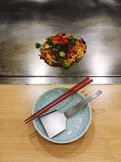 High angle view of food in plate on table