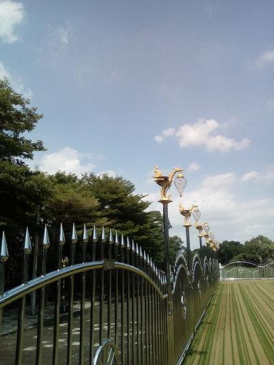Metal fence.