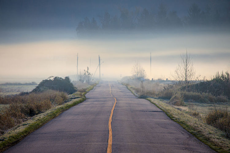 Fog hovers above road leading to the unknown