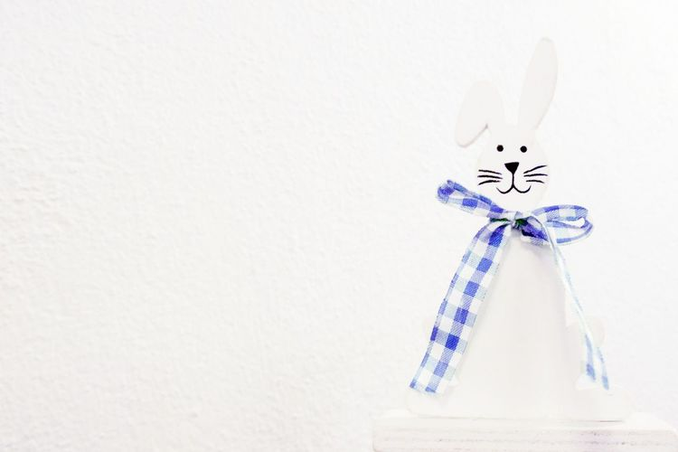 Blue Ribbon Close-up Day Decoration Easter Bunny Easter Decoration Indoors  No People White Background White Color