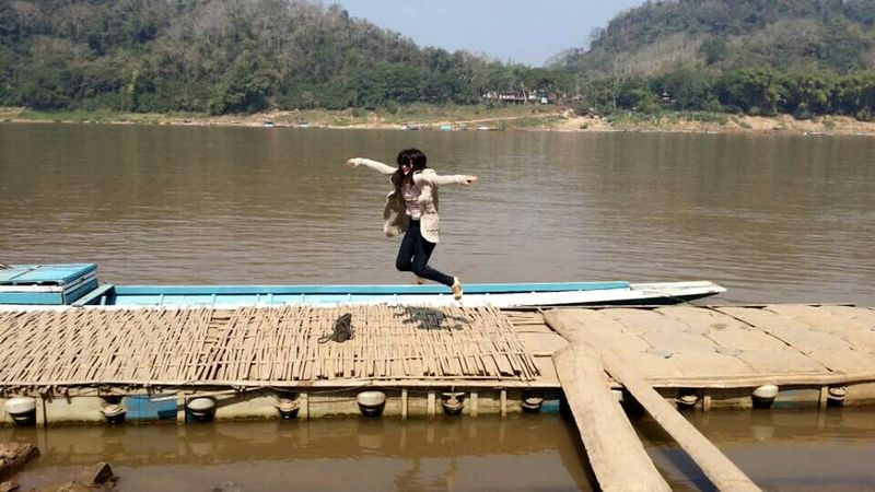 Laos Jump High Mekong River A Girl Dirty Water  Where the hell are the fishes?