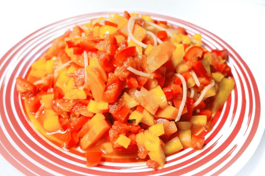 Carrot Tomato Pasta Red Capsicum Red And Yellow Vegetables Vegetables & Fruits Healthy Eating Vegan Food Food Food And Drink Close-up Healthy Yellow Dinner Healthy Pasta