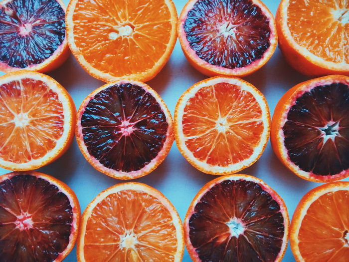 Full Frame Shot Of Orange Slices On Table