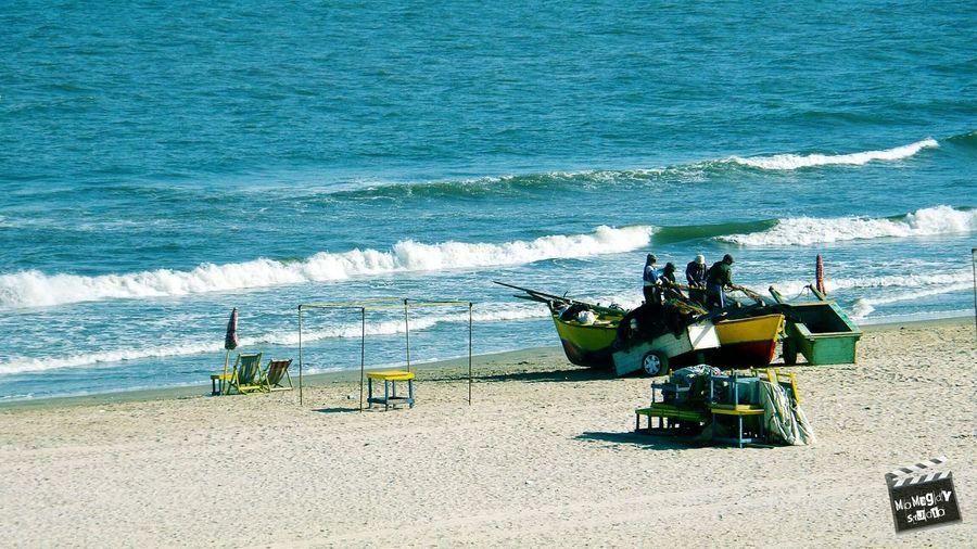 Fishermen Boat Net Beach Sea Waves Sand Morning Umbrella Seats This Is Egypt MoMagdyStudio