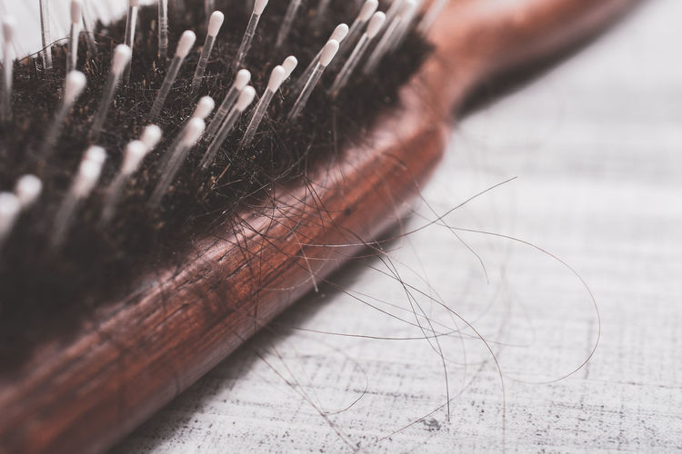Close-up of hair in brush on table