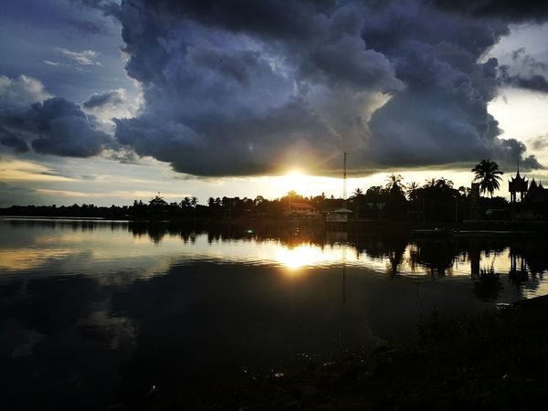 Reflection Lake Sunset Water Silhouette Cloud - Sky Extreme Weather Outdoors Tree Nature No People Night Dawn Sky