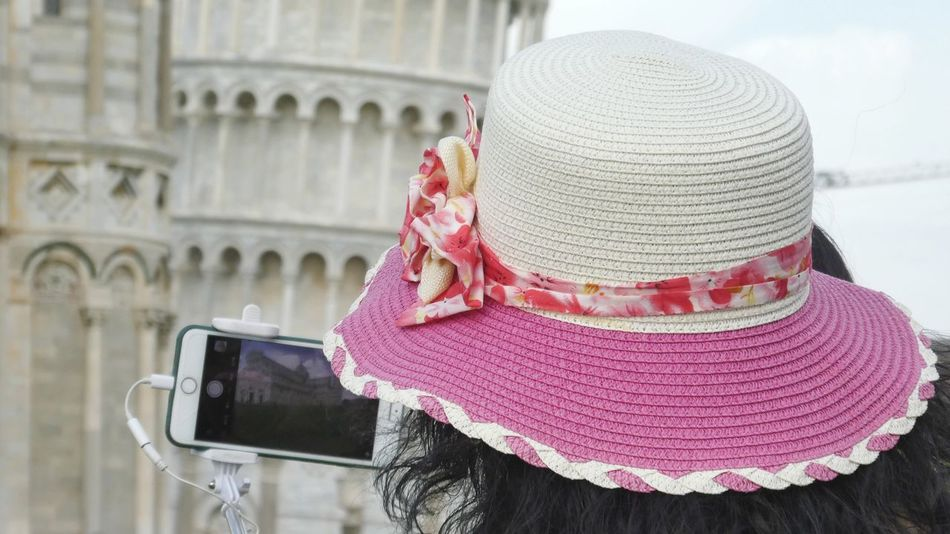 fashionista taking photo from Pisa tower Pink Hat Taking Photo Fashion Photography Sun Protection Focus On Foreground Lifestyles Fashionlook Straw Hat Woman Hat Tourist Place Nice Hat Headshot Photography EyeEm Gallery Still Life Photography Close Up Photography Summer Vibes City Hat Close-up Architecture