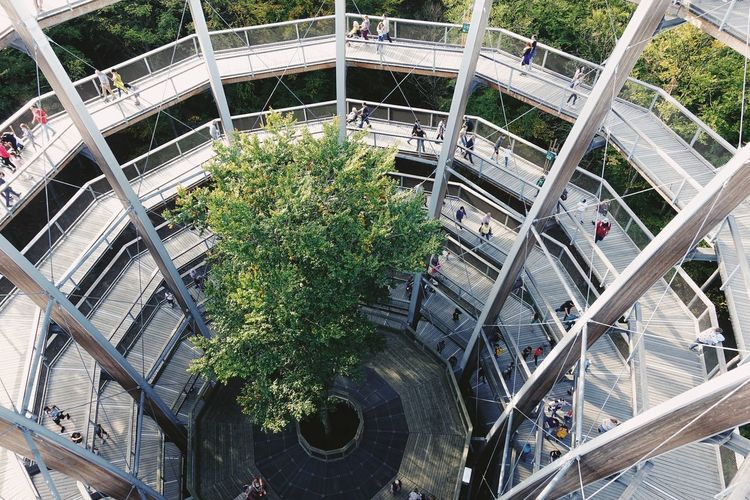 High angle view of ferris wheel in city