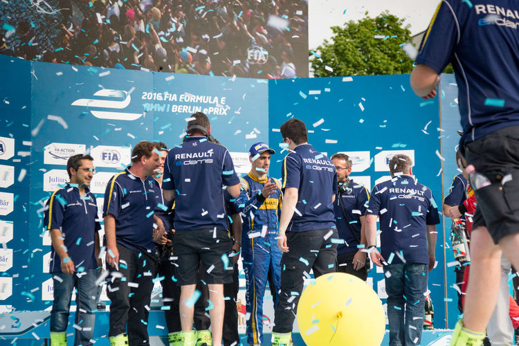 Renault team on the podium during E-Prix FIA Formula E race car championship Award Ceremony. Sébastien Buemi, Swiss professional racing driver, scored his third win Award Ceremony Formula E Formula E 2016 Podium Racing Sebastien Buemi Winners Crowd Eprix Formula E 2016 Formula E Racing Formulae Group Of People Motor Racing Race Renault Winner