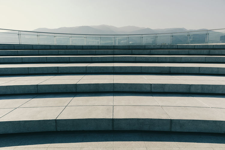 Outdoor viewpoint at sky roof of building with beautiful mountain scenery