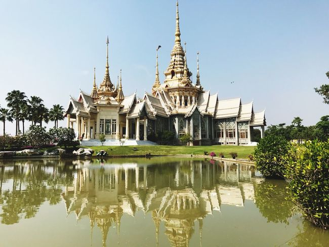 Religion Spirituality Reflection Architecture Place Of Worship Building Exterior Built Structure Water Travel Destinations Outdoors Sky Clear Sky Day No People Cultures