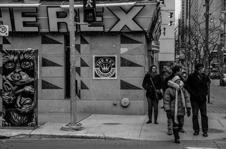 One of the most popular Jazz bars in Toronto. Architecture Art And Craft Building Building Exterior Built Structure Candid Shot City Life Creativity Design Downtown Jazz Bar Landmark Monochrome Pattern People Watching Queen West Streetphotography The Rex Tiled Floor Wall Wall - Building Feature