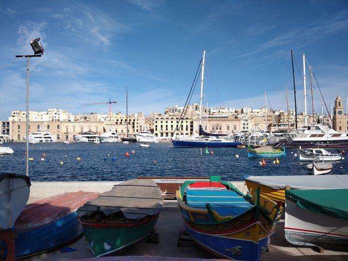 Malta Mediterranean  Mediterranean Sea Marina Senglea Grand Harbour Nautical Vessel Transportation Mode Of Transportation Water Harbor Sky Sailboat Moored Architecture Building Exterior City Sea No People
