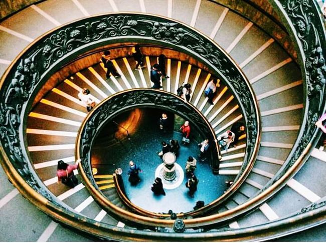 The Vatican museum. Staircase Steps And Staircases High Angle View People Large Group Of People Built Structure Steps Spiral Staircase Architecture Spiral Day