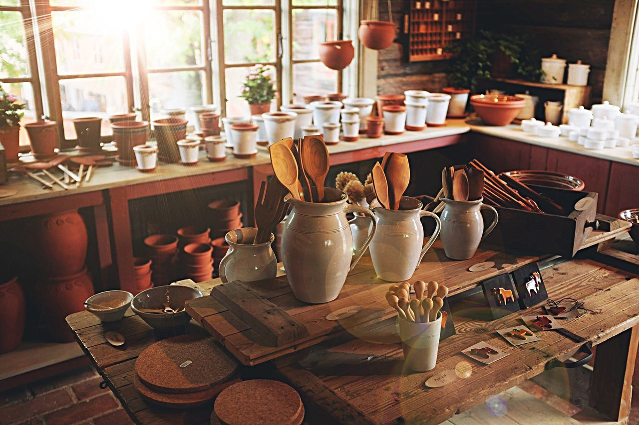 indoors, table, shelf, wood - material, large group of objects, workshop, no people, day