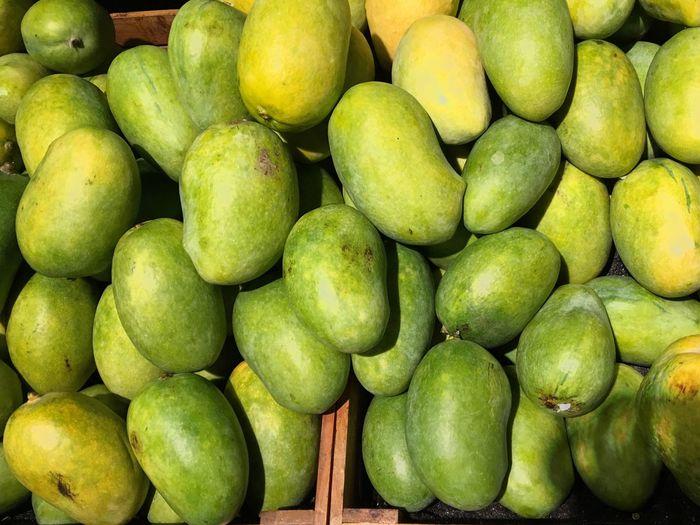 Full frame shot of mangos for sale in market
