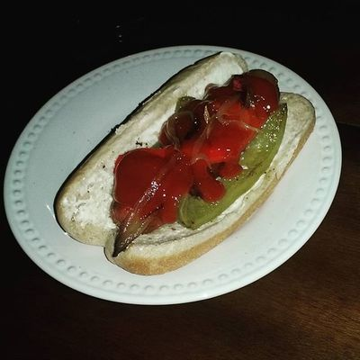 HotDog with Bacon and Bellpeppers and Onions and all because daddy's princess wanted LAstyle hotdogs lol