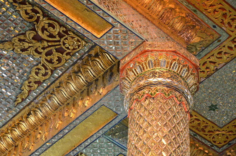 Architecture Architecture And Art Built Structure Ceiling Design Gold Colored Indoors Pillar Low Angle View Place Of Worship Religion Ceiling Design