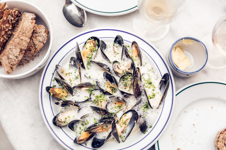 Directly above shot of mussels in plate on table