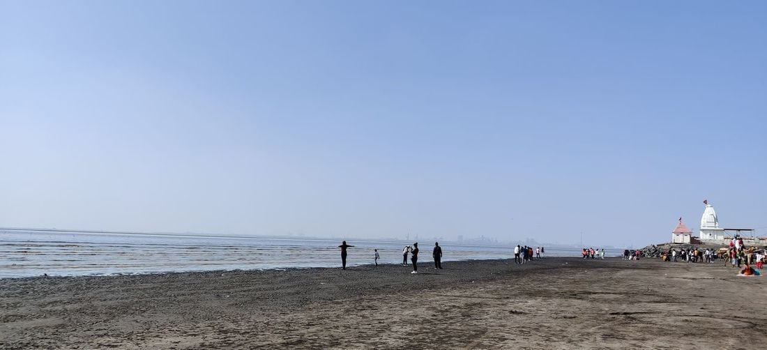 People on beach against clear sky