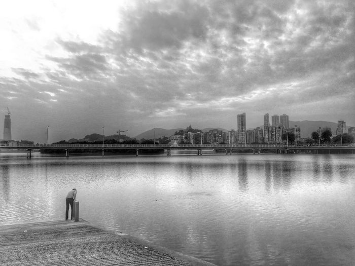 Check This Out Hanging Out Hello World Relaxing Taking Photos Enjoying Life Landscape Scenery Vacation Time Beautiful Sky Beautifulview Iphone6s Building Nature Blackandwhite Buildings Reflection Macau Pier