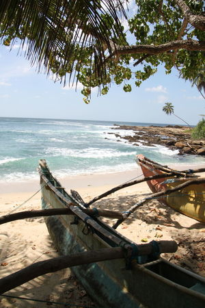 Abandoned Beach Beauty In Nature Day Horizon Over Water Moored Nature Nautical Vessel No People Outdoors Outrigger Sand Scenics Sea Sky Tranquility Transportation Tree Water Sri Lanka Tangalle