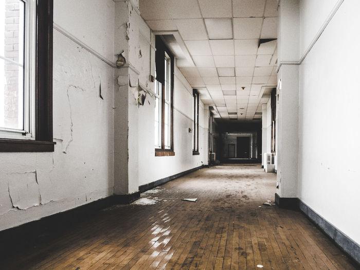 Narrow corridor of building