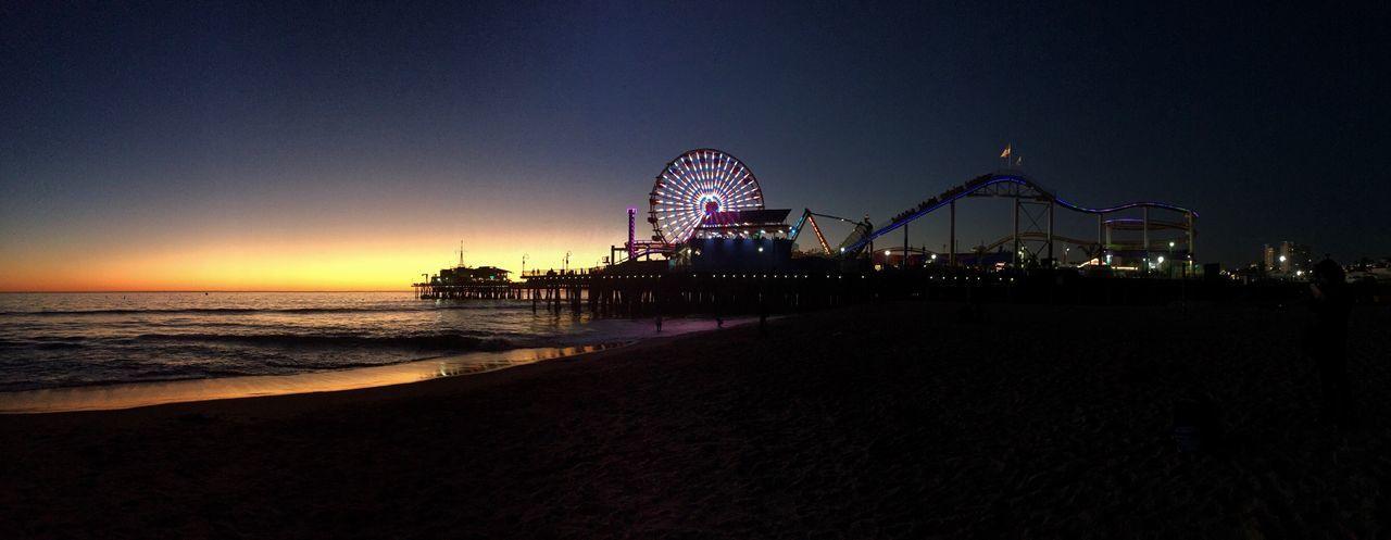 Santa Monica Pier Amusement Park Night Lights Nightlife