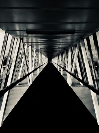 Perspective Tunnel Monochrome Black And White Angle Lines And Shapes Lines Geometry Geometric Shape Diminishing Perspective Architecture Built Structure The Way Forward Bridge - Man Made Structure No People Transportation Indoors