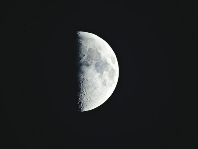 Moon Night Astronomy Moon Surface Beauty In Nature Sky Space Black Color Space And Astronomy Low Angle View Half Moon To Nights Moon