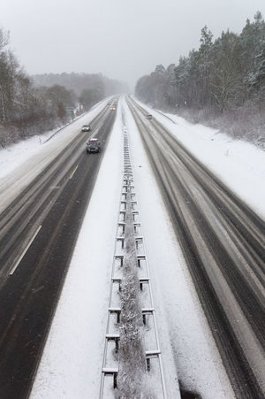 Drive Safely Driving Lines Road Winter Autobahn Cold Temperature Germany Slippery Snow Snowing Street