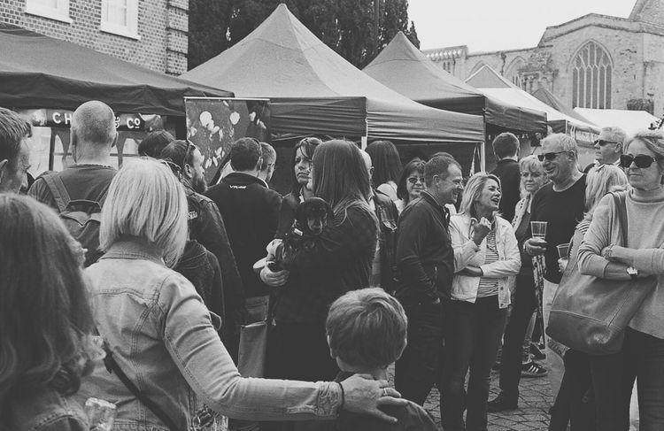 Large Group Of People Crowd Olympus OM2n Black & White 35mmfilmphotography Kodak T-max 400