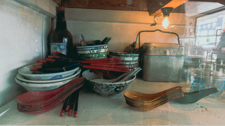 View of kitchen utensils on table