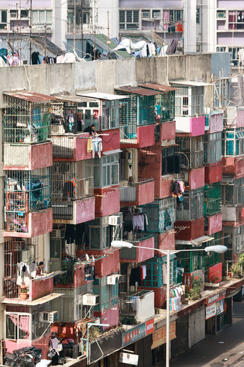 Apartment Architecture Backgrounds Balcony Building Building Exterior Built Structure City City Life Clothing Day Development Full Frame Glass - Material High Angle View Multi Colored No People Outdoors Pattern Residential District Window The Architect - 2018 EyeEm Awards