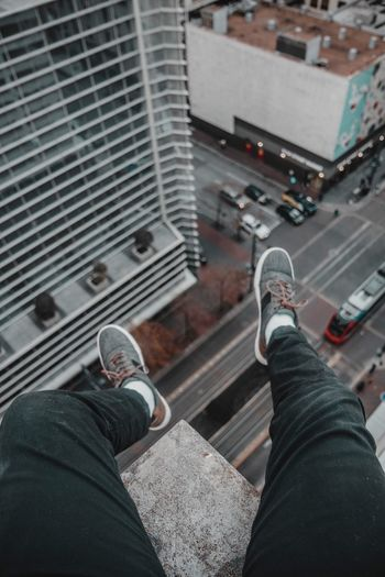 On the edge Downtown City Life Rooftoping Rooftop Personal Perspective Low Section Shoe Human Leg Real People One Person Standing High Angle View Lifestyles Building Exterior Jeans EyeEmNewHere An Eye For Travel