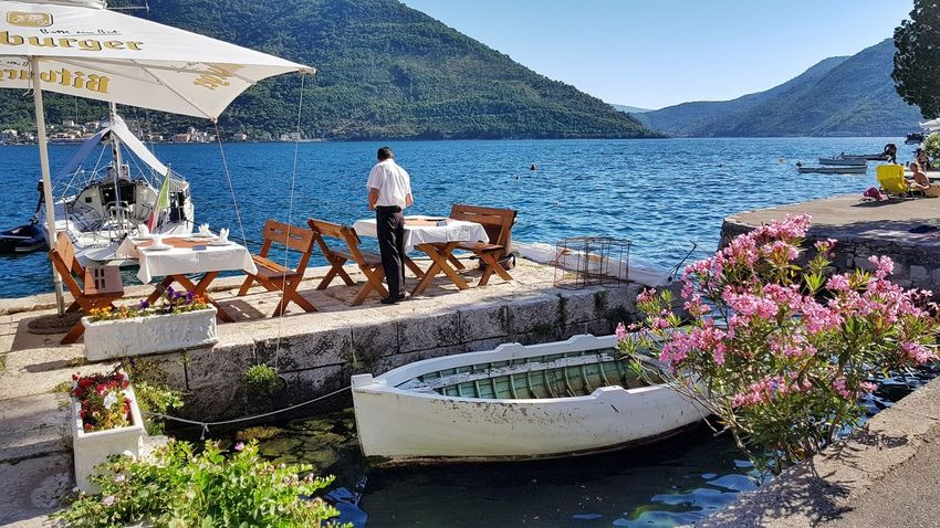 Water Outdoors Nature Sea Day Summer Beauty In Nature Vacations Relaxation Blue Scenics Landscape Holiday Travel Destinations PERAST Montenegro Dining Dining Out Eating Al Fresco Boat