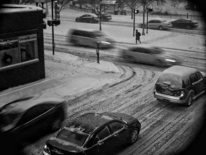 Dreading my drive home Blackandwhite Winter Snow Michigan