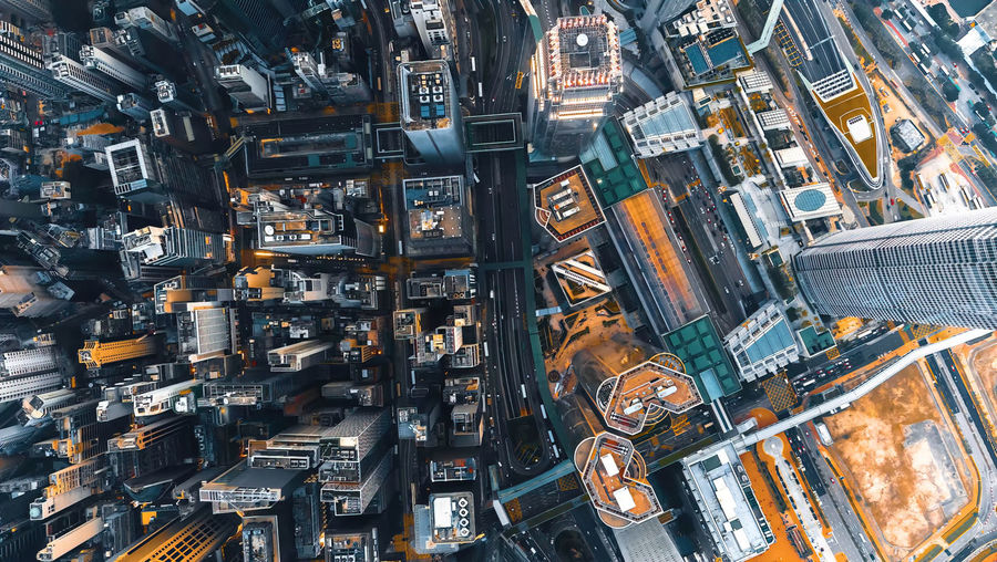 High angle of top view of buildings in city ,hong kong