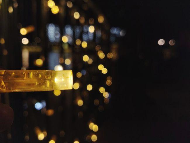 Blinked light Blur Blurry Lake View Night Nightshot Light Lamp Bokeh Defocused Illuminated Close-up