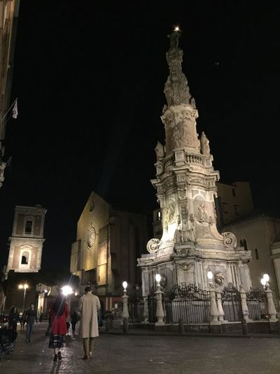 Piazza del Gesù Nuovo Architecture Built Structure Religion Spirituality Travel Destinations Tourism Statue Night Welcome To Black Neaples Napoli