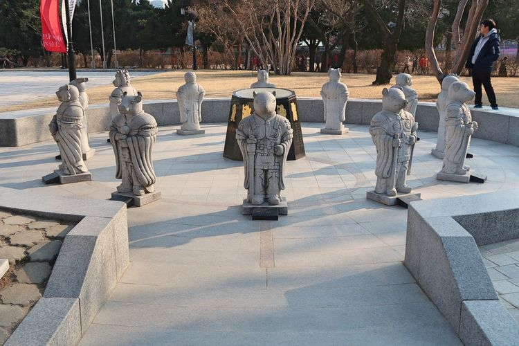 View of statues at town square