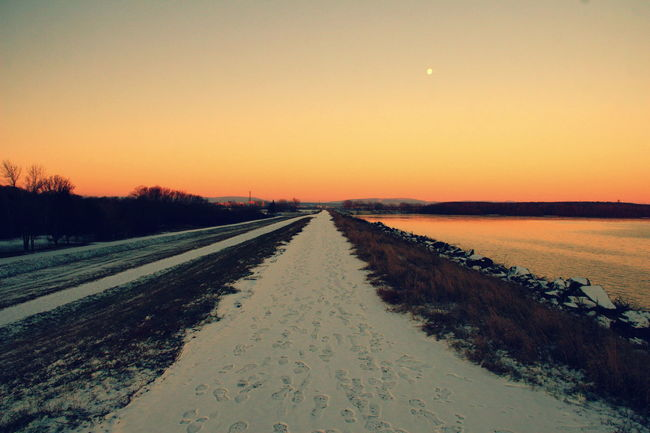 Clear Sky Cold Temperature Cold Winter ❄⛄ Landscape Moon Scenics Sky Snow Road Sunset Tranquil Scene Water Winter Winter 2016 Wintertime