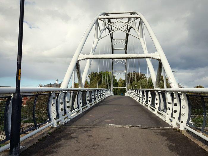 metal bridge City Footbridge Cityscape Suspension Bridge Bridge - Man Made Structure Metal Sky Empty Road
