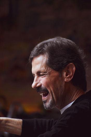 Close-up of smiling mature man