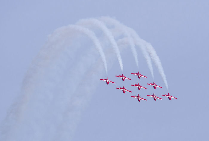 Aerospace Industry Air Vehicle Airplane Airshow Cloud - Sky Cooperation Day Fighter Plane Flying Formation Flying Low Angle View Mode Of Transportation Motion No People on the move Order Outdoors Plane Sky Smoke - Physical Structure Speed Teamwork Transportation Vapor Trail