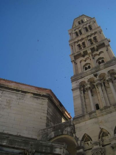 Architecture Built Structure Building Exterior Low Angle View Clear Sky Tower Blue Tall - High History City Day Outdoors Sunbeam Arch The Past Spire  Monument Historic Building Bell Tower - Tower Famous Place EyeEm Best Shots EyeEm First Photo in Split DubrovačkaCroatia