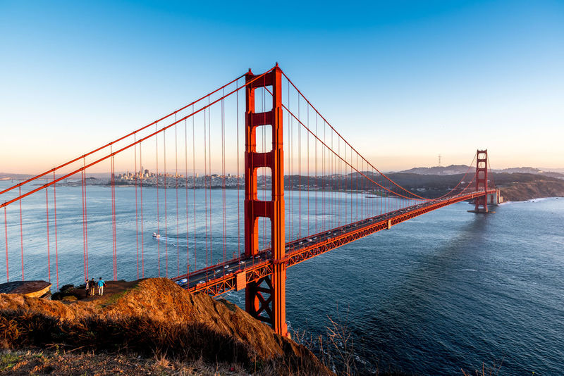 View from Battery Spencer towards Golden Gate Bridge and San Francisco during sunset GoldenGateBridge Nikon Nikon D750 SF SanFranciscoBay Bridge Bridge - Man Made Structure Built Structure Clear Sky Engineering Nikonphotographer Nikonphotography No People Outdoors Sanfrancisco Sea Sky Sunset Suspension Bridge Tamron Tamron2470 Tourism Travel Travel Destinations Water first eyeem photo The Architect - 2018 EyeEm Awards